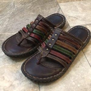 Born Boho Brown Rainbow Gladiator Thong Sandals